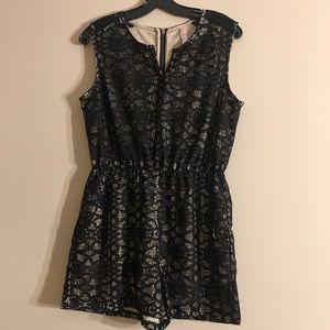 Black & Nude Lace Romper